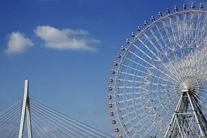 Big wheels : Osaka aquarium ferris wheel in Japan.