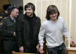 Anna Politkovskaya trial: Dzhabrail and Ibraghim Makhmudov at the murder trial of Anna Politkovskaya.