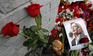 A picture of journalist Anna Politkovskaya where she was murdered in Moscow.