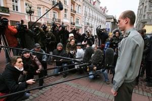 Anna Politkovskaya trial: Court representative talks to the press at the trial of Anna Politkovskaya
