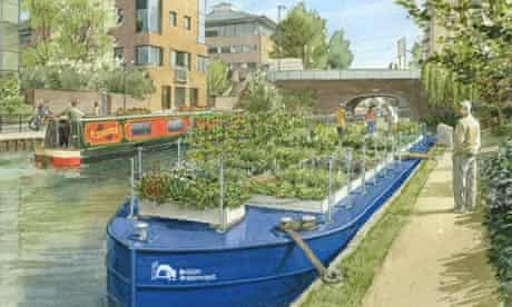 An artist's impression of a canal boat being used to grow food