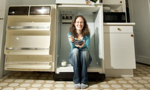 Rachel Muston and her decommissioned fridge
