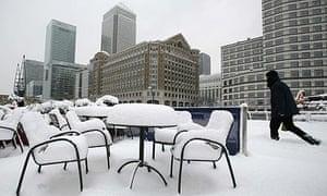 London's Canary Wharf has seen 15cm of snow