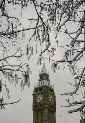 Gallery Snow in England: London: Snow covered trees surround Big Ben.