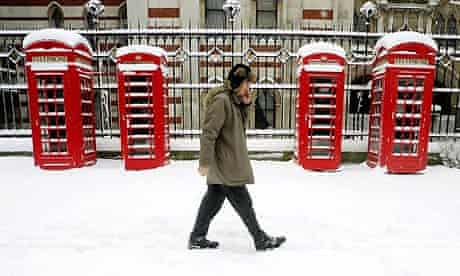 Snow in central London.
