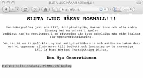 Hackers attacked the IFPI's website in Sweden.
