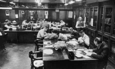 Manchester Guardian subeditors' room