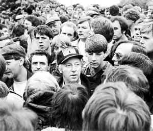 Orgreave Battle: Arthur Scargill leads the strikers at Orgreave