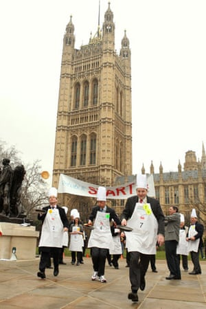 Pancake race: The Rehab UK Parliamentary Pancake race