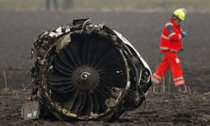The engine of the Turkish Airlines passenger plane at Schiphol airport
