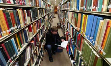 Student in a university library