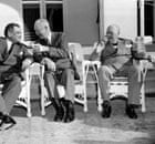 Dwight Eisenhower with  Joseph Laniel and Sir Winston Churchill in 1953.