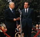 Harold Wilson speaking alongside Richard Nixon in 1970.