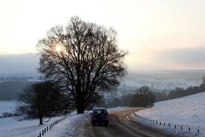 Gallery Snow updated: Chatsworth, Derbyshire: Motorists carefully negotiate the roads.