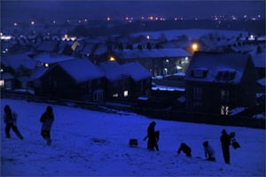 Gallery Snow updated: Bury: Teenagers sledging at night in Johnny's Field.