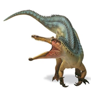 Gallery Dinosaurs: Baryonyx dinosaur with jaws open.