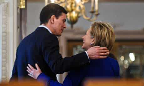 David Miliband Hillary Clinton leave after speaking to the press
