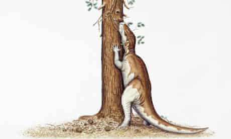 Camptosaurus dinosaur eating leaves from a tree