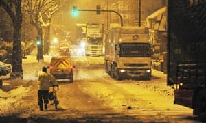 Lorries stranded on the A37 in Bristol after heavy snowfall in south-west England.
