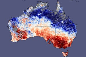 Gallery Severe drought: Map of Australia with land surface temperature