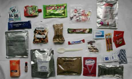 The new ration pack issued to soldiers by the Ministry of Defence