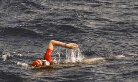 Jennifer Figge shown swimming in the Atlantic
