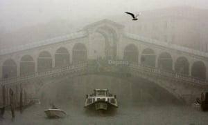 Venice in decline: A water bus passes under the Rialto bridge in the fog in Venice.
