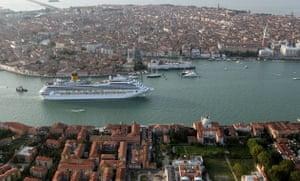 Venice in decline: The Costa Fortuna cruise ship sails in Venice, Italy.