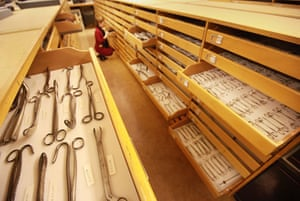 Science Museum objects: Drawers of surgical instruments at the Science Museum's object store.