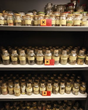 Science Museum objects: Drawers of antique drugs are displayed at Science Museum's object store.