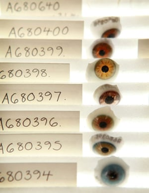 Science Museum objects: Antique glass eye fragments displayed at the Science Museum's object store