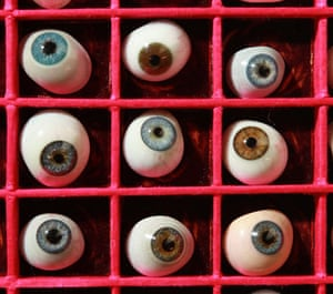 Science Museum objects: Antique glass eyes displayed at Science Museum's object store in London.