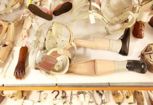 Science Museum objects: Antique artificial limbs at the Science Museum's object store in London.
