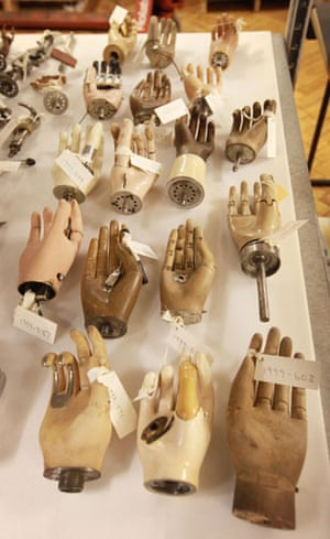 Science Museum objects: Antique artificial hands at the Science Museum's object store in London.