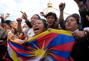 Kathmandu Uprising day: Exiled Tibetans shout anti-China slogans during a protest rally.