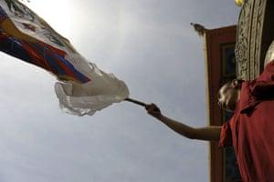 Kathmandu Uprising day: Displaced Tibetans protest on streets of Kathmandu