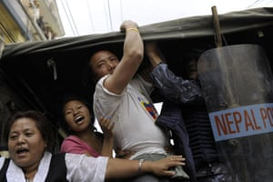 Kathmandu Uprising day: Nepalese police arrest Tibetan protesters in Kathmandu, Nepal.