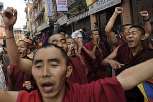 Kathmandu Uprising day: Tibetans protest in the street on 10 March 2009 in Kathmandu, Nepal.