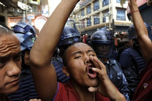 Kathmandu Uprising day: Tibetan monks protest in the streets on 10 March 2009 in Kathmandu, Nepal.