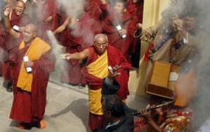 Kathmandu Uprising day: Tibetans Buddhist monks participate in a protest march in Kathmandu.