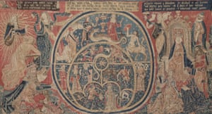 15th century tapestry depicting planetary motion