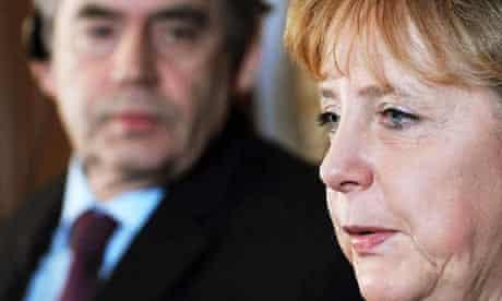 Gordon Brown and Angela Merkel
