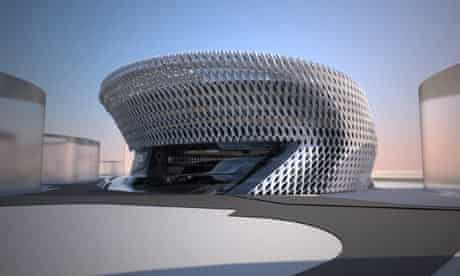 Artists impression of Campus of Justice building in Madrid, designed by Zaha Hadid