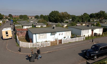 Some of the second world war prefab homes in Excalibur estate, Catford, London