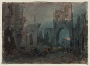 Google and Tate: Kirkstall Abbey, Moonrise: Colour Study  circa 1800-5