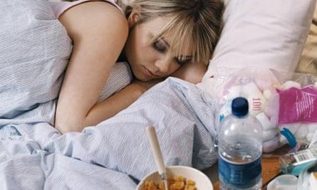 Teenager sleeping in bed