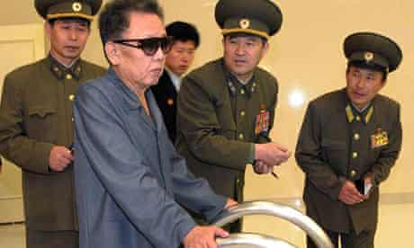 Kim Jong Il inspects the newly-built swimming complex at Kim Il Sung University in Pyongyang