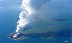 Ash rising into the air from an undersea volcanic eruption