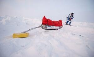Catlin Arctic Survey: Pen Hadow dragging his sledge