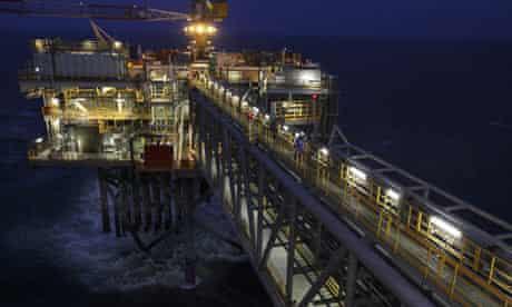 The Buzzard oil platform on the Buzzard oilfield in the North Sea.